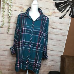 Sonoma green and pink flannel shirt size 3X